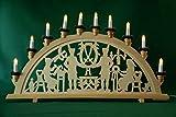 yanka-style XL Schwibbogen Lichterbogen Leuchter Bergleute traditionelles Motiv 70 cm lang 10flammig Weihnachten Advent Geschenk Dekoration (10742)