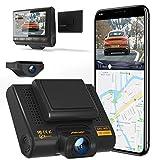 AQP Dual Dashcam Full HD 1080P Vorne und Hinten Autokamera, Dashboard Camera Recorder mit GPS & WiFi, G-Sensor, WDR, Loop-Aufnahm, 170 ° Weitwinkel mit Nachtsicht, Bewegungserkennung