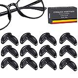 12 Paare Brille Nasenpads Silikon, D Form Stick Brille Nasen Pads, Rutschfeste Selbstklebende Nasenpads, 16 mm (schwarz)