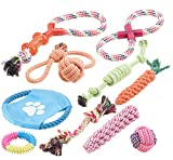 Sweetypet Hundebedarf: 10er-Set Bunte Hundespielzeuge aus Baumwolle zum Kauen und Toben (Welpenspielzeug)