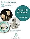 Hayes Papier, Wasserrutsche Aufkleber Papier Inkjet Transparent 20Blatt Premium water-slide Transfer transparent bedruckbar Wasser Slide Aufkleber A4Größe