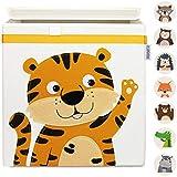GLÜCKSWOLKE Kinder Aufbewahrungsbox - 10 Motive I Spielzeugkiste mit Deckel für Kinderzimmer I Spielzeug Box Tiger (33x33x33) zur Aufbewahrung im Kallax Regal I Dschungel Kiste (Ronja Raubtiger)