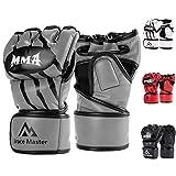 Brace Master MMA Handschuhe UFC Handschuhe Leather Padding für Männer, Frauen, Knöchelgelenkschutz, Fingerlose Sparring-Handschuhe für das Training, Kickboxen, Muay Thai, Boxen (Grau S)