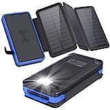 XIYIHOO Solar Powerbank 26800mAh,Externer Akku Wireless Solar Ladegerät Kompatibel Qi-fähige Telefone & Dual Ports 2.1A Ausgang für Smartphones, Handys, Outdoor Aktivitäten