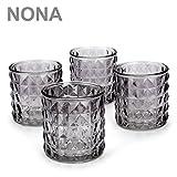 NoNa KAYO anthrazit grau - 4er Set Teelichtglas - Teelichtgläser Windlicht Kerzenglas Kerzengläser orientalisch Vintage