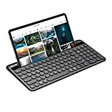 Jelly Comb Kabellose Tastatur mit Ziffernblock, Bluetooth Funktastatur mit Dual-Kanal für Android/Windows Tablet, iOS iPad, Smartphone, Handy, Mac OS, QWERTZ Deutsches Layout, Schwarz