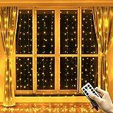 Greatever Lichtervorhang, 300 LEDs Lichterkettenvorhang 3M*3M IP65 Wasserfest 8 Modi Lichterkette Warmweiß für Weihnachten Party Schlafzimmer Innen und außen Deko