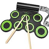 Rockpals Elektronisches Schlagzeug, Drum Set, Roll Up Midi Drum Kit mit Kopfhörer und eingebaute Lautsprecher Drum Pedals und Sticks, bis zu 10St. Spielzeit, Weihnachtsgeschenk für Kinder