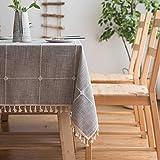 Topmail Tischdecke Rechteckige Tischdecke Baumwolle Leinen Tischdecke Geeignet für Home Küche Dekoration, Verschiedene Größen (Hellgrau, 140 x 180 cm)