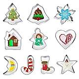 FINEVERNEK 10 Stück Ausstechformen Weihnachten Plätzchen Ausstecher aus Edelstahl Kleine Keksausstecher Cookie Cutter,Edelstahl Ausstecher Set Ausstecher Ausstechformen Weihnachten Plätzchenausstecher