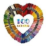 100 Verschiedenfarbige Stickgarn Sticktwist, Multifarben Embroidery Floss Weicher Baumwolle, Garnknäuel perfekt für Freundschaftsbänder Kit, Bracelets,Stickerei, Kreuzstich Threads Nähgarne Häkeln