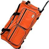 DEUBA Reisetasche   mit Trolleyfunktion   Rollen mit Kugellager   Teleskopgriff   abschließbar -【Farb-und Größenauswahl】 Sporttasche Reisetrolley Gepäcktasche, Orange, 85L = 70 x 36 x 34 cm (LxBxH)