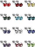 12 Paar Edelstahl Ohrstecker Set Knorpel Helix Ohr Piercing Barbell Ohrstecker Körperschmuck, 12 Farben, 18 Gauge