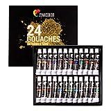Zenacolor 24 x 12mL Gouachefarben in Tuben Set mit 24 Farbtönen, Hohe Qualität für Künstler