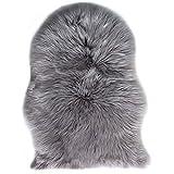 JXLOULAN Spitzenqualität Lammfellimitat Teppich, 60 x 90 cm Lammfellimitat Teppich Longhair Fell Nachahmung Wolle Bettvorleger Sofa Matte (Grau, 60 x 90 cm)