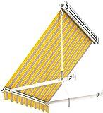 Broxsun Balkon- und Fenster Kassettenmarkise Idaho Casette, 1m bis 5m x1,4m, 120 Stoffe, Fallarmmarkise, Breite 351 bis 410cm, Länge 140cm, Somfy/Fernb.Motor.Kurbel-Wind-Sonnenaut