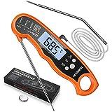 NIXIUKOL Digital Fleischthermometer Instant Read Grillthermometer Küchenthermometer   LCD Bratenthermometer Haushaltsthermometer mit 2 Edelstahlsonden & Bonus-Batterien & Magnet