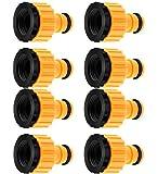 lawnko® 8 Stück Hahnverbinder-Satz 13mm 1/2' und 26.5mm 3/4' 2in1 Tap Connector Faucet Adapter, Anschluss für Wasserhähne mit Gewinde