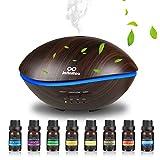 500ml Aroma Diffuser mit 8 * 10ml Ätherische Öle Set, Luftbefeuchter Ultraschall Raumbefeuchter Aromatherapie Diffusor mit 7 Farben LED für Yoga, Büro, SPA, Schlafzimmer