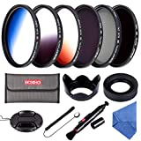58MM Filter Set Beschoi 6Pcs Filter Kit (CPL+ND4+ND8)+ Verlauf Farbe Filter(Orange Blau Grau)+ Filter Zubehör Kit