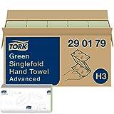 Tork grüne Zickzack Papierhandtücher Advanced 290179 - H3 Falthandtücher für Papierhandtuchspender - saugfähig und reißfest, 2-lagig, grün - 15 x 250 Tücher