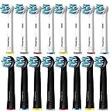 Valuabletry 16er Cross Aufsteckbürsten für Oral B, 8er Weiß und 8er Schwarz Cross Clean Aufsätze kompatibel mit Oral-B Elektrische Zahnbürsten