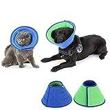 HanryDong Atmungsaktives Halskrausen für Katzen Hunde, Mesh-Elizabethan-Halsband, blaues, verstellbares, schnellere Heilungstier-Wiederherstellungskegel, weiche Kanten, Anti-Biss/Leck für Kaninchen