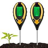 BMOT Bodentester, Boden Feuchtigkeit Meter, 4-in-1 Pflanze Tester für Bodenmessgerät Feuchtigkeitsmesser/Sonnenlicht/Boden pH Tester für Garten, Bauernhof, Rasen (2 stück)