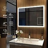 Meykoers Wandspiegel Badezimmerspiegel LED Badspiegel mit Beleuchtung 80x60cm mit Touch Schalter und Beschlagfrei Lichtspiegel Kaltweiß 6400K