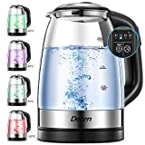 Wasserkocher mit Temperatureinstellung, DECEN 1.7L Wasserkocher mit Edelstahl Innendeckel, Temperaturwahl 50-100°C Glaswasserkocher, Teekessel, 2200W, BPA Frei.