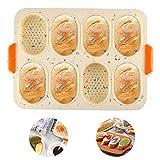 Baguette-Backblech Baguetteblech No-stick French Brot Backformen für Baguettes 4 Fach mit Antihaftbeschichtung - Brötchen Backform Edelstahl Wave Brot backen Form