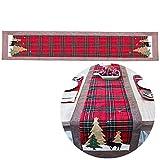 Molinter Tischläufer Tischband Weihnachten Baumwolle Leinen Doppelschicht Tischdecke Desktop für Esszimmer Küche Dekoration 180X35CM