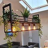 QAZQA Modern Industrielle Hängelampe schwarz mit 4-flammig-Licht-Rack - Cage Rack/Innenbeleuchtung/Wohnzimmerlampe/Schlafzimmer/Küche Stahl Länglich LED geeignet E27 Max. 4 x 60 Watt