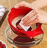 Shanisha Feines Sieb, Mit gratis Schaber, sehr feinmaschig, Küchensieb rot, ganz feines Sieb