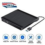 Externes CD-DVD-Laufwerk, tragbares USB 3.0-CD/VCD +/- RW-Laufwerk Schlankes VCD/CD-ROM-Brenner-Lesegerät Optisches DVD-Laufwerk für Laptops Desktop-Laptops, Windows 10/8/7 / XP/Vista/Mac OS (Black)