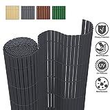 wolketon Sichtschutzmatte Sichtschutzzaun Sichtschutz Windschutz PVC Zaun Ideal für Garten Balkon Terrasse, UV-beständig Wetterfest, 180x900cm Farbe: Grau