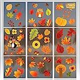 Bluelves Erntedankfest Fensteraufkleber, Herbst Fensterbilder, Thanksgiving Fenster Aufkleber, ohne Kleber Thanksgiving Fensterdeko, Ahornblätter Marone Fenster Sticker Deko für Kinderzimmer Cafe