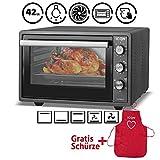 ICQN Minibackofen 42 Liter mit Umluft   Pizza-Ofen   Mini Ofen   Innenbeleuchtung   Doppelverglasung   Timer Funktion   Emailliert Anthrazit