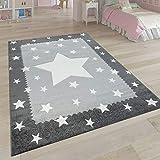 Paco Home Kinderteppich Grau Weiß Kinderzimmer 3-D Bordüre Sternen Design Weich Robust, Grösse:140x200 cm