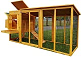 Hühnerstall Hühnerhaus Eggshell Buckingham Hühnerstall mit Laufgehege, schützt vor Füchsen, tragbar, geschweißter/beschichteter 3-mm-Draht, mit Nistkasten, für 2-4 Hühner, Größe XXL, 244 cm