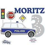 MissRompy Geburtstag Bügelbild Polizei (804) für dunkle und helle Stoffe Zahl groß Aufbügler Alter Bügelbilder Applikation Aufbügelbild