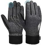 RUNACC Touchscreen Winter Handschuhe Verdickte Winterhandschuhe Laufhandschuhe Outdoor Fahrradhandschuhe Sporthandschuhe Vollfinger Handschuhe für Damen und Herren(Grau L)