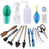 Gxhong Mini Pflanzen Werkzeug Set, 16 Stück Bonsai Werkzeug Gartenschere, Faltenschere, Mini-Rechen, Trimmer Set Gartenwerkzeug für Gärten und Topfpflanze