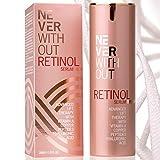 Retinol kombiniert mit Hyaluron Serum hochdosiert mit straffenden Peptiden, Kollagen und Vitamin A, B5 & E für Zellerneuerung. Reduziert Pigmentflecke, Poren. Antifaltencreme Frauen von NeverWithout®