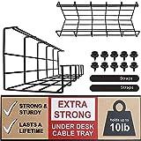 Scandinavian Hub Schreibtisch Kabelkanal – Super Stabiler Kabelhalter für Kabelordnung. Metallene Kabelbox für Büro, Studio und Zuhause (Schwarz – Set von 2X 40,5cm)