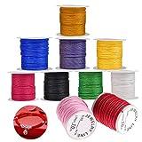 WELLXUNK® Nylonfaden Nylonschnur 0.8 mm*10 m Polyesterfaden Baumwollschnur für DIY Halskette Armband Handwerk BastelSchmuckherstellung(10 Rollen)
