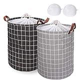 Magicfun 2Pcs Wäschekörbe, 43 L Große Wasserdicht Wäschesammler Sortierer Faltbar mit Griffen und Kordelzug zur Aufbewahrung 13.8 x 13.8 x 17.7 Zoll, 2 Mesh-Wäschesäcke Enthalten