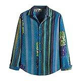 Herren Freizeithemd, Mode Leinenhemd Langarm Herren Hemd Sommerhemd Herren Regular Fit Sommer Und Herbst Baumwolle Leinenhemd Button-Down Freizeithemd Blouse Shirt