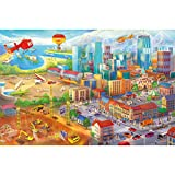 GREAT ART Fototapete – Großstadt Wimmelbild Comic Style – Kinderzimmer Wandbild Dekoration Baustelle Hubschrauber Flugzeug Bagger Flughafen Foto-Tapete Wandtapete (336 x 238 cm)