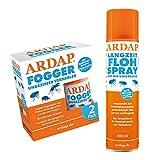 ARDAP Set 1 x 400 ml Flohspray + 2 x 100 ml Fogger gegen Flöhe und Ungeziefer